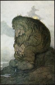 Troll méditant sur son âge, Theodor Kittelsen, 1911. Bibliothèque nationale de Norvège.